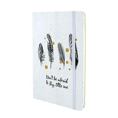 VEESUN A5 Quaderno Foderate Diario di Viaggio Taccuino Notebook Journal Agenda con Chiusura Elastica, Segnalibro, 192 pagine, 90GSM, Piuma nera