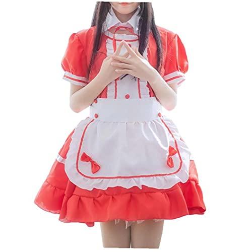 Runfon Traje de Cosplay de la Criada de Manga Corta Camarera Uniforme de la Criada del Vestido de Lujo de la Ropa Interior Atractiva con el Delantal de Headwear Falso Collar Rojo 2XL