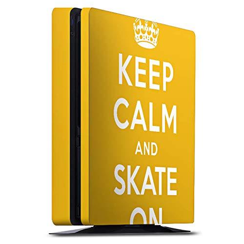 DeinDesign Skin kompatibel mit Sony Playstation 4 Slim PS4 Aufkleber Folie Sticker Keep Calm Skateboard Skaten