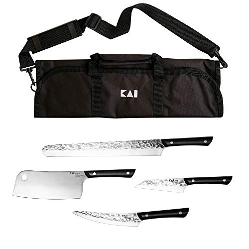Kai Housewares 5-Piece BBQ Set, From the Makers of Shun; Includes 12-in Slicing/Brisket Knife, 7-in Cleaver, 6.5-in Boning/Fillet, 5-in Asian Multiprep, and Carrying Case; The Ultimate Grilling Set