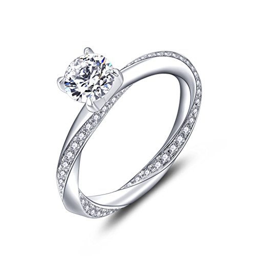 YL Anillo de compromiso Anillo de bodas Plata de ley 925 corte 6MM Circonita para Novia Mujer(Tamaño 15)