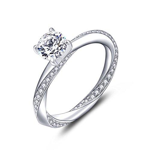 YL Anillo de compromiso Anillo de bodas Plata de ley 925 corte 6MM Circonita para Novia Mujer