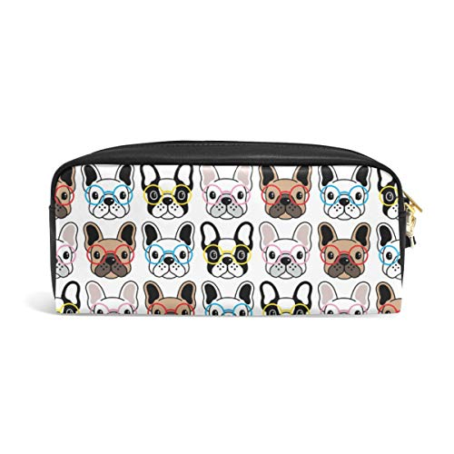 Pencil Case Big Capacity Pencil Bag Makeup Pen Pouch Cute Colorful French Bulldog Puppy Durable Students Stationery Pen Holder for School/Office