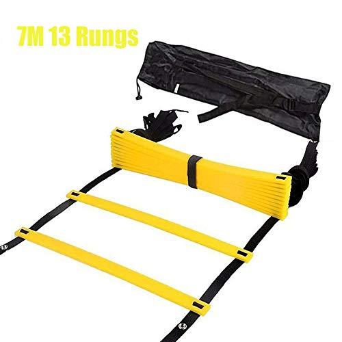 Speed Agility Ladder, Voetbal Oefening Sport Praktijk Training Ladder, Verstelbare Springen Stap Touw Outdoor Rungs Fitness Agility Ladder voor kinderen tieners - 7m