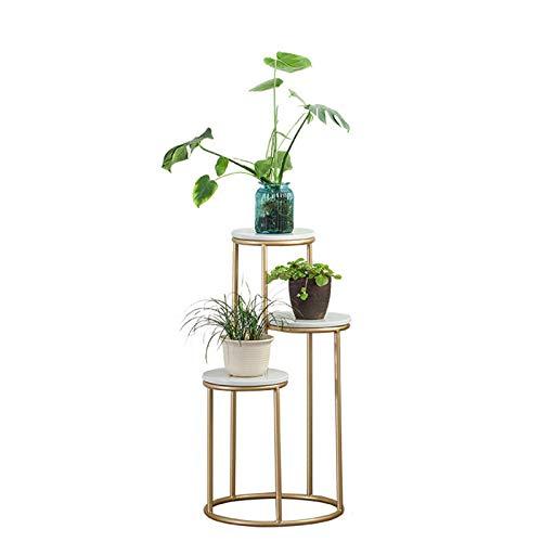ASDQWER Soporte para plantas de hierro forjado nórdico hueco plegable para interiores, sala de estar, tipo suelo, balcón, suculenta, ajuste de 360 grados, tres plantas
