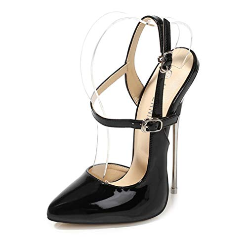 Women's High Heels Pointed-Toe Buckle Pumps Party Catwalk Shoes