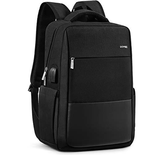 HOMIEE Business Laptop Rucksack Herren, 15.6 Zoll Laptop Schulrucksack mit USB Ladeanschlus, Wasserabweisende Laptoptasche für Damen, Arbeit, Schule, Reisen, Frauen, Männer, Jungen, Teenager