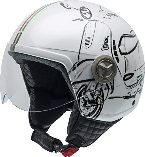 NZI Herren 050267A045S Zeta Grafik Offenes Gesicht Motorradhelm, Glanz W-Vespa Turia, S
