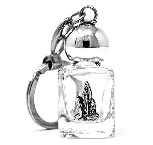 Katholieke Gift Shop Ltd Lourdes Water Sleutelhanger in een glazen fles gevuld met gezegende Lourdes Heilig Water.