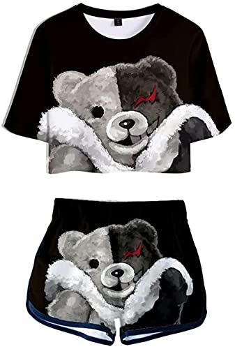YUNZHONG Danganronpa: Trigger Happy Havoc Ropa Cosplay Camisa Pantalones Cortos Traje Manga Corta Camisetas Mujer Sportswear D_L