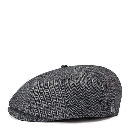 Brixton Men's Brood Newsboy Snap Hat, Grey/black...