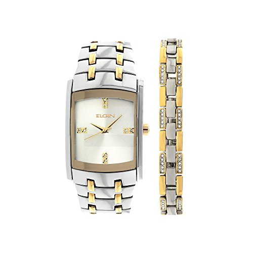 Elgin Men's Crystal Accent Two-Tone Watch and Bracelet Set -  Mz Berger, FG9061ST