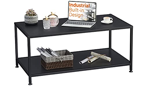 GreenForest Coffee Table Industrial Metal Frame with Open Storage Shelf for Living Room 39.4' x 21.5', Easy Assembly, Black