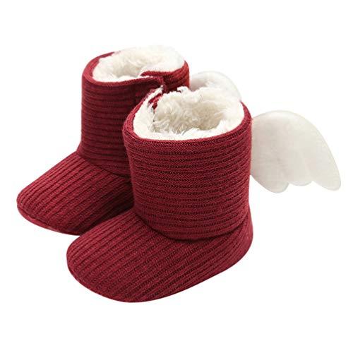 Fenical Baby Schneeschuhe Plüsch warme Winter weiche Sohle Winterstiefel mit Flügeln Dekor Babyschuh für Kleinkinder Kleinkind 13cm Größe L 1 Paar (rot)