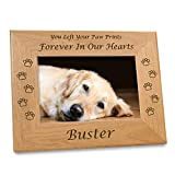 """Etched In My Heart Pet Memory Frame Personalized Dog Memorial Gifts (4x6 Photo) w/ """"Paw Prints"""" Custom Message on Rustic Alder Wood for Loving Memorabilia Picture of Deceased & RIP (6x8 Size)"""