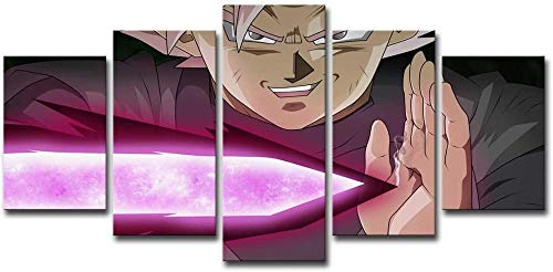 Hnyyj 5 Piezas lienzos impresión Super Saiyan Negro Goku HD Anime Dragon Ball impresión en Lienzo para Sala de Estar hogar Cartel Pared Arte decoración Regalo Abstracto Ilustraciones