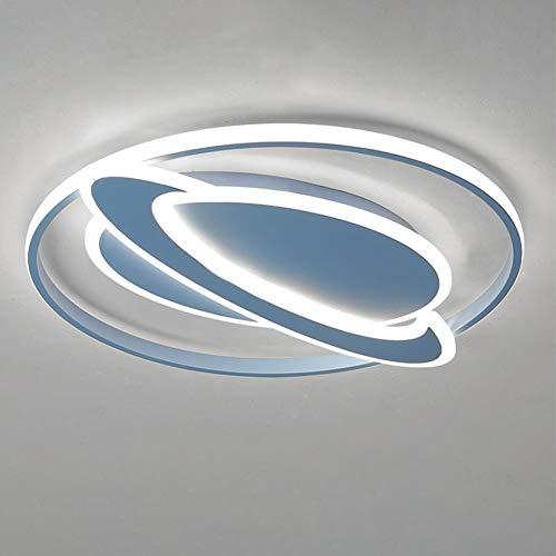 ZZOOK Lámparas Plafones De Techo Planetas Planetario Sistema Solar Habitacion Modernas Infantil Decorativas Rusticas Posmoderno Decoración Dormitorio Bebe Interior Iluminación Lámpara,Azul,52cm36w