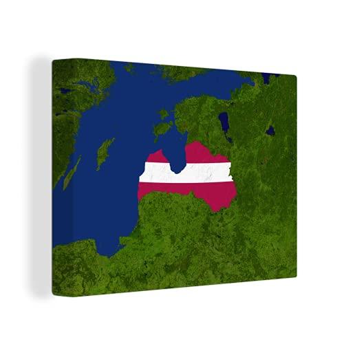 Leinwandbild - Satellitenbild von Lettland mit der Flagge von Lettland - 40x30 cm