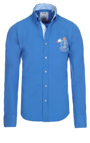 Pontto Hemd Herrrenhemd Blackline Collection Blue S