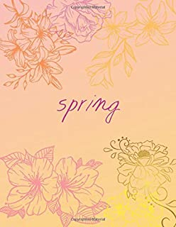 Spring Music Journal: 12 Staves Manuscript Notebook - Large(8.5 x11[inch]) - 110 Pages - Music Paper Book 12 Staves - Kids...