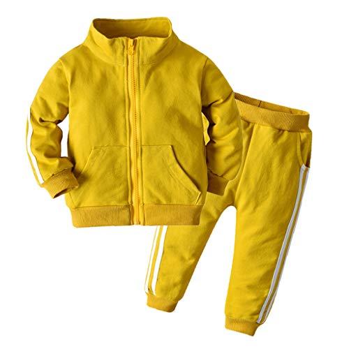 Livoral Mädchen Langarm Jacke Hosen Sportbekleidung Kleinkind Baby Boy Anzug Sportbekleidung(Gelb,3-6 Monate)