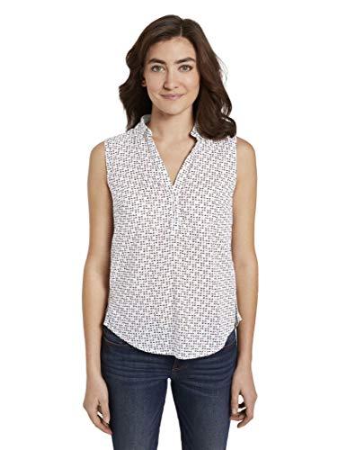 TOM TAILOR Damen Blusen, Shirts & Hemden Ärmellose Henley-Bluse mit Seitenschlitzen White Geometric Design,38