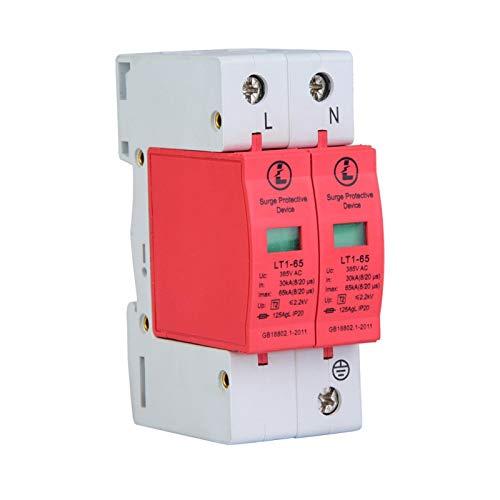 385V Überspannungsschutzgerät, 20KA Niederspannungsableiter Thunder Tele Protector für Telefone und elektronische Geräte(2P65KA)