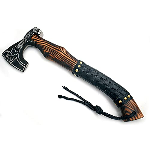 """Medieval Warrior Fully Functional Battle Ready Custom Handmade High Carbon Steel 18"""" Tomahawk Viking Axe Gorgeous Solid Sheesham Wood Handle Comes with Leather Carrying Case. (Viking)"""