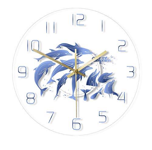 QAZQAZ Reloj de Pared Redondo acrílico con Estampado Familiar de Delfines, Arte de Pared náutico con Delfines, Vida Marina, Reloj de Pared silencioso sin tictac del océano, sin LED