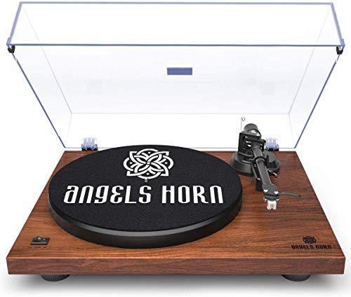 Angels Horn Plattenspieler, Schallplattenspieler Vinyl Plattenspieler Turntable mit Riemenantrieb - Phono Verstärker integriert, 33 & 45 RPM Geschwindigkeit, Einstellbares Gegengewicht