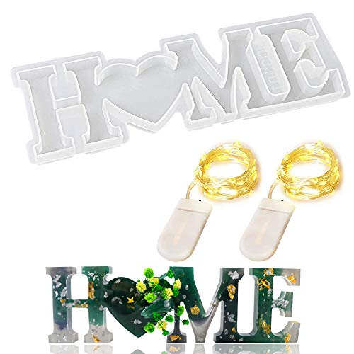 SIENON Home Resin Mold, 3D Home Letter Mold, Silicone Word Sign Casting Mold with 2Pcs Fairy Lights for Home, Desk, Table, Room Decorations and Valentine's Day, Thanksgiving Day & More Holidays Gift