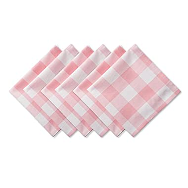 DII Cotton Buffalo Check Oversized Basic Cloth Napkin for Everyday Place Settings, Farmhouse Décor, Family Dinners, BBQ's, and Holidays (20x20, Set of 6) Pink & White