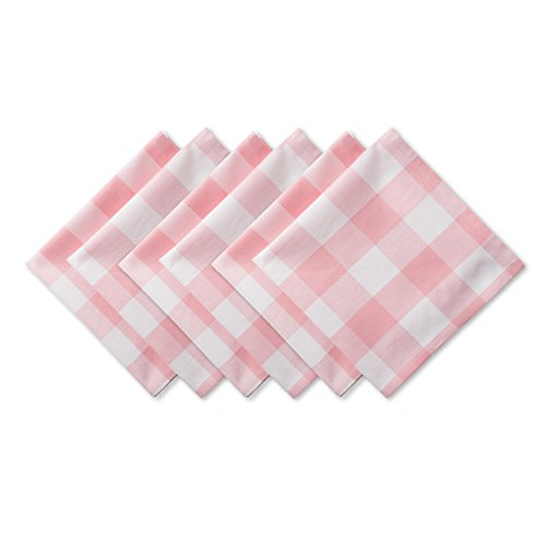DII Buffalo Check Collection Classic Tabletop, Napkin Set, 20x20, Pink & White 6 Count