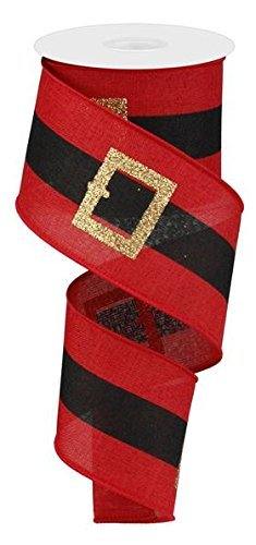 """EXPRESSIONS Santa's Belt Buckle Christmas Wired Edge Ribbon - 2.5"""" x 10 Yards (Red)"""