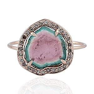 Diamond Watermelon Tourmaline Ring 14k Rose Gold Handmade Gemstone Jewelry for Women