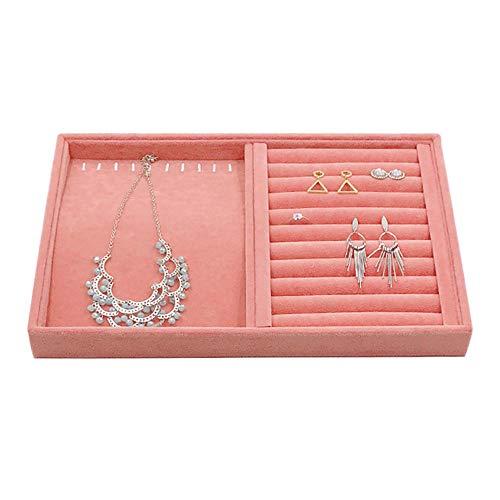 BEI&YANG Ohrringe Aufbewahrungsbox Rosa EIS Samt Schmuckständer Ohrringe Halskette Armband Anhänger Aufbewahrungsbox Schmuck Tablett@Dual-Use-Festplatte