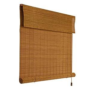 YANZHEN Estores de Bambú Cortina De Bambú Persianas De La Cortina De Bambú De La Persiana del Rodillo Sombreado Cortar Tire De La Cuerda para Abrirla 2 Colores, Personalización del Tamaño