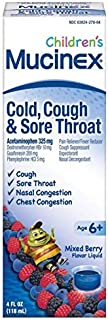 Cold, Cough, and Sore Throat, Mucinex Children's Cold, Cough, & Sore Throat Liquid, Mixed Berry, 4oz (Packaging May Vary) Controls Cough, Relieves Nasal & Chest Congestion, Thins & Soothes Sore Throat