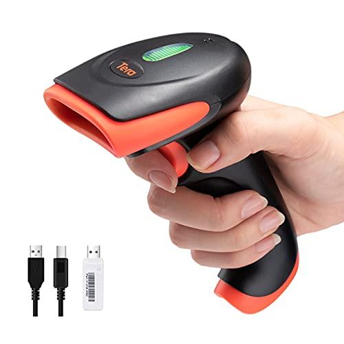Tera Lettore di codici a barre 1D 2D QR Wireless 2.4 GHz + USB 2.0 cablato Scanner palmare cablato Risoluzione 5 Mil Portata 100 m, Scansione schermo supportata, HW0005