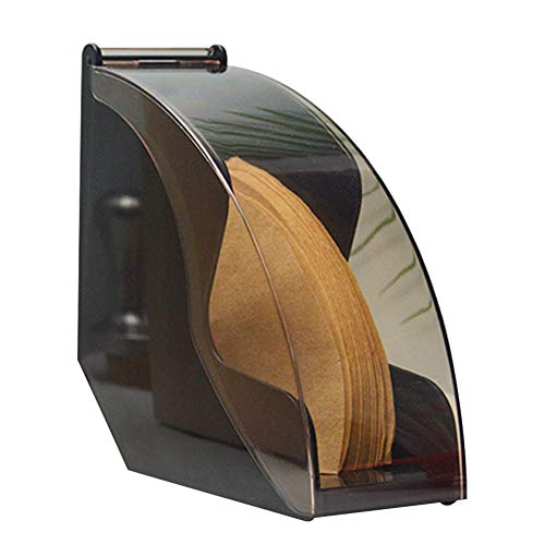 SADA72 Kaffeefilterhalter, Kaffeefilterpapierhalter mit staubdichter Abdeckung Acryl-Kaffeefilter-Spender-Gestell-Regalaufbewahrung, fächerförmiger praktischer staubdichter Kaffeefilterhalter