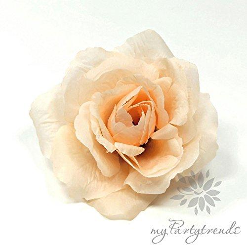 myPartytrends Ansteckrose, Haarrose in Pastell-apricot; Modell 'Französische Rose' (Ø 11 cm; Höhe 5 cm) (Ansteckrose, Haarblume mit Schnabelspange, Haarschmuck, Seidenrose, Seidenblume)