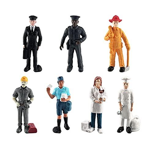 TOYANDONA 7 Piezas Figuras de Personas Modelo Entrena La Profesión Arquitectónica Personas Figuras Pequeñas Personas para Escenas en Miniatura