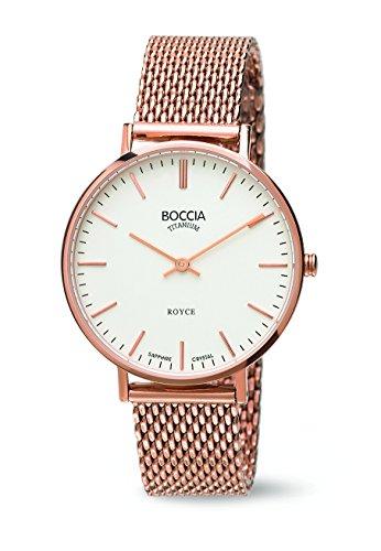 Boccia–Reloj de Cuarzo para Mujer con Color Blanco Esfera analógica Pantalla y Oro Rosa Pulsera de Titanio b3590–09