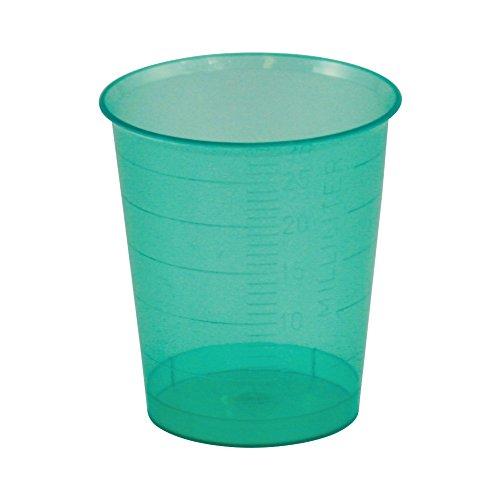 80 x Einmal-Medizinbecher in 5 Farben Füllmenge 30 ml, Farbe:Grün