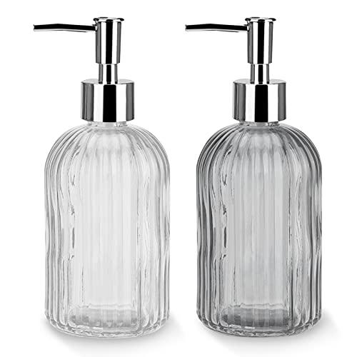 Dispensador de jabón, 2 pcs de jabón para Manos Vidrio Premium con Revestimiento Dispensador de Vidrio con Bomba de Acero Inoxidable para detergente para lavavajillas, Aceite Esencial