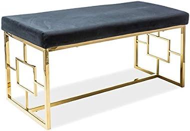 Sellon24/Signal Banc en velours rembourré confortable et luxueux Style glamour Doré/noir Banc de couloir