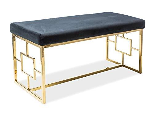 Sellon24/Signal Sitzbank Polsterbank Truhenbank Flurbank Gold Schwarz Samt Glamour Design bequem luxuriös Noir