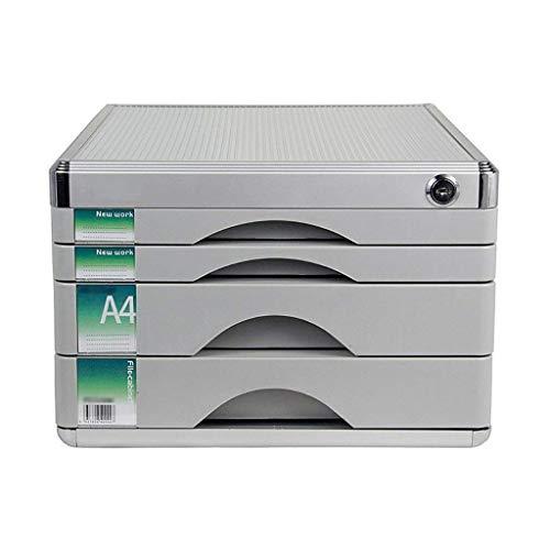 KANJJ-YU Clasificadores cajón, mesa de escritorio de oficina cajón del armario 4 capas de aleación de aluminio con cerradura de datos Periódico Bastidores (Tamaño: 12 pulgadas * * 14.4in 8.2in) Oficin