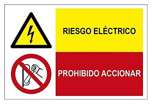 MovilCom® - Señal combinada ¡PELIGRO! RIESGO ELECTRICO/PROHIBIDO ACCIONAR de 600X400mm ADHESIVO (ref.PRD4360407)