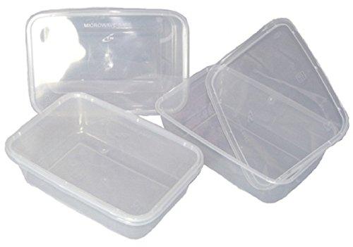 Aufbewahrungsdosen aus Kunststoff, mit Deckel, für Mikrowelle und Gefrierschrank geeignet, transparent, 170x 120x 35mm, 500ml, wiederverwendbar, 100Stück